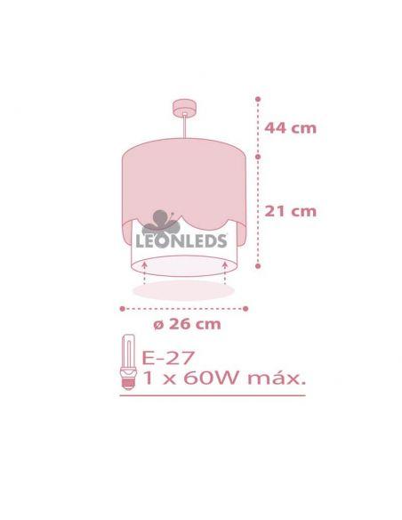 Dimensiones Lámpara de techo infantil rosa y blanca Cisne Sweet Love | LeonLeds Iluminación