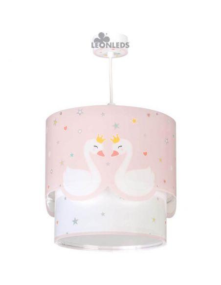 Lámpara de techo infantil rosa y blanca Cisne Sweet Love | LeonLeds Iluminación