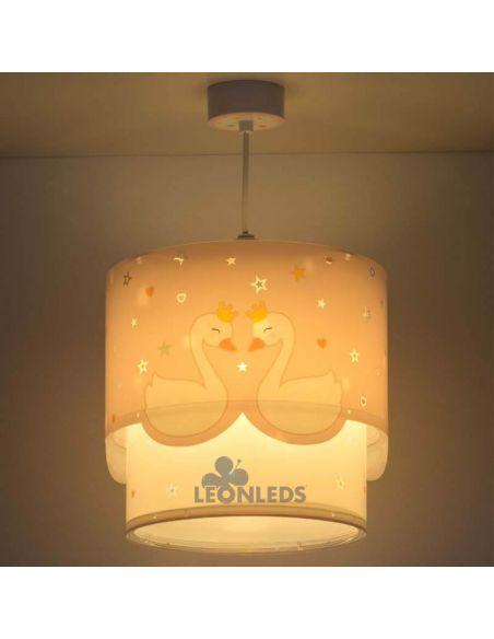 Lámpara de techo infantil rosa y blanca Cisne Sweet Love 61372 Dalber | LeonLeds Iluminación