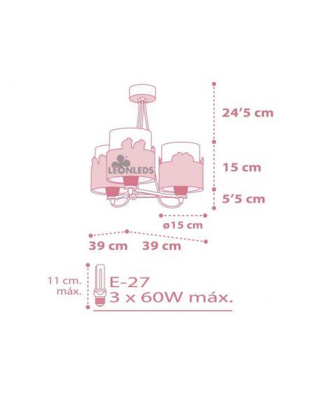 Dimensiones Lámpara de techo con Cisnes Rosa y Blanca 3 Luces Sweet Love Dalber 61377 | LeonLeds