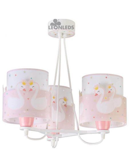 Lámpara de techo con Cisnes Rosa y Blanca 3 Luces Sweet Love Dalber 61377 | LeonLeds