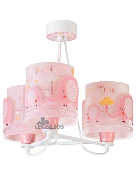 Lámpara colgante para bebe con 3 pantallas Little Elephant 61337 | LeonLeds Iluminación