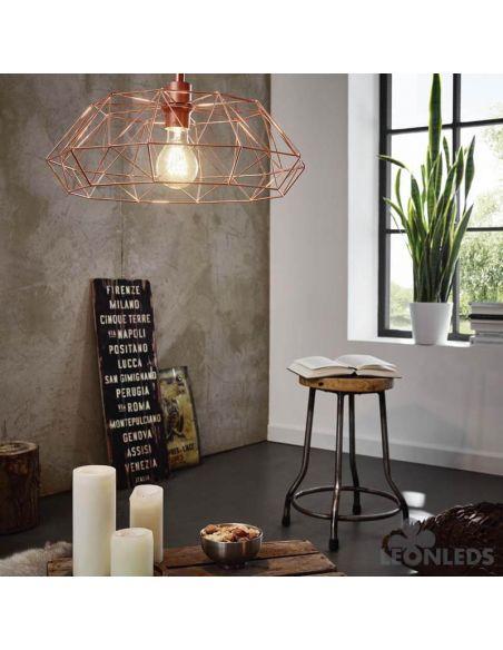 Lámpara de Techo Carlton 2 Cobre Vintage 1XE27 Eglo | LeonLeds Iluminación