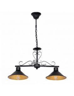 Lámpara colgante rustica negra y dorada metálica Buhardilla Fabrilamp | LeonLeds Iluminación