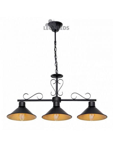 Lámpara de techo metálica de estilo rustico 3 luces Buhardilla | LeonLeds
