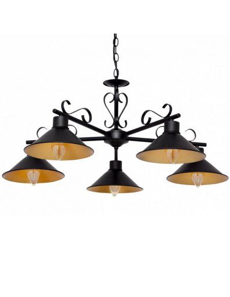 Lámpara colgante rustica metalica con 5 luces Buhardilla | LeonLeds Iluminación