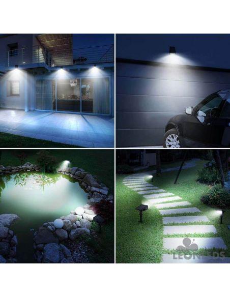 Foco LED Solar con sensor de Movimiento 30 Leds Pack 4 Unidades para pared o pincho | LeonLeds