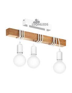 Lámpara de Techo vintage blanca Townshend 3XE27| Lámpara vintage de madera de techo de Eglo Lighting | LeonLeds Iluminación