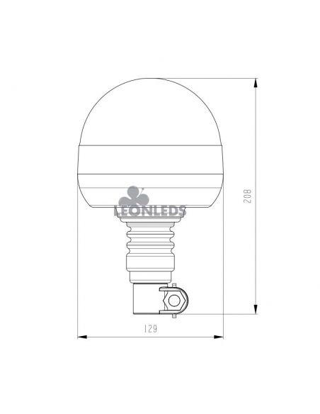 Dimensiones Rotativo LED Giratorio Flexible NR65 R10 TA1 Agropar | LeonLeds Iluminación