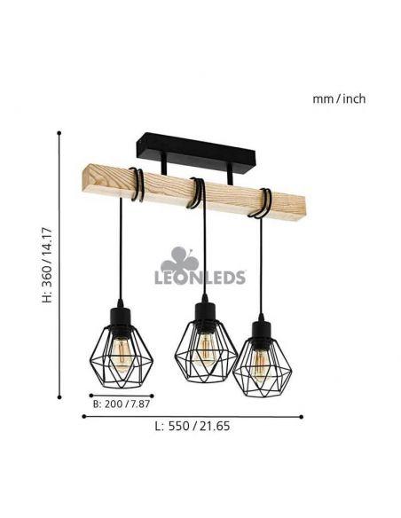 Lámpara de Techo de madera Townshend 5 Vintage 3XE27| Lámpara vintage de techo de Eglo Lighting | LeonLeds Iluminación