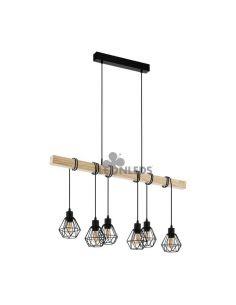 Lámpara de Techo de madera Townshend 5 Vintage 6XE27| Lámpara vintage de madera de Eglo Lighting | LeonLeds Iluminación