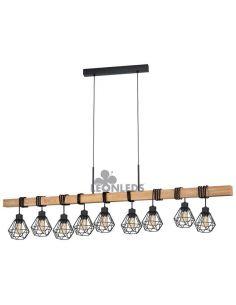 Lámpara de Techo de madera Townshend 5 Vintage 9XE27| Lámpara vintage de madera de Eglo Lighting | LeonLeds Iluminación