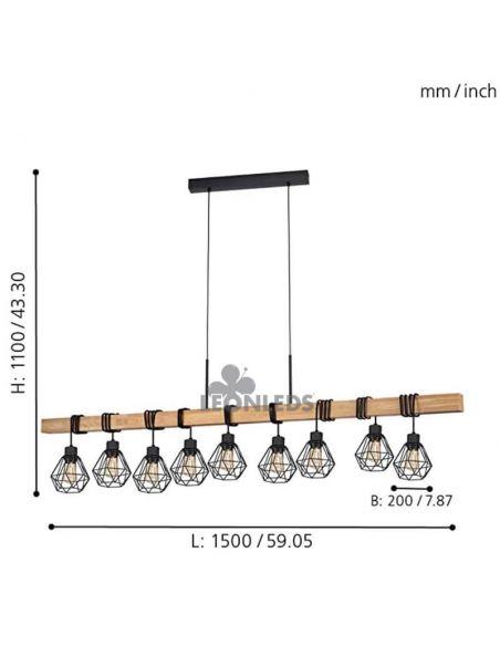Lámpara de Techo de madera Townshend 5 Vintage 9XE27| Lámpara vintage de acero de Eglo Lighting | LeonLeds Iluminación