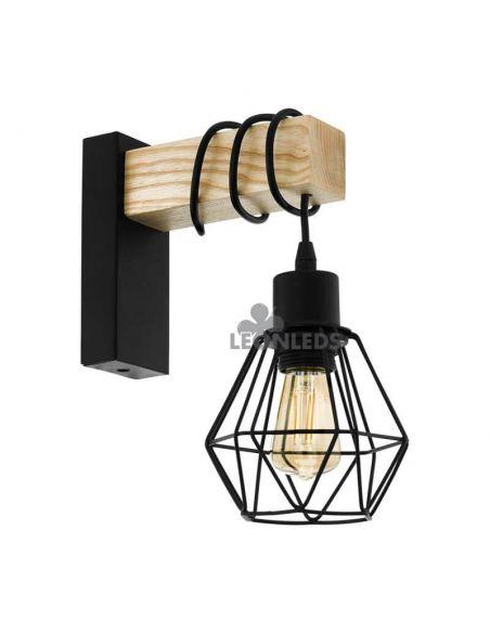 Aplique colgante de pared madera vintage Townshend 5 1XE27 | Aplique vintage de madera de Eglo Lighting | LeonLeds Iluminación