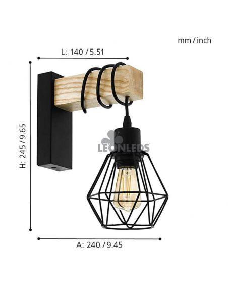 Aplique colgante de pared madera vintage Townshend 5 1XE27 | Aplique vintage de acero de Eglo Lighting | LeonLeds Iluminación
