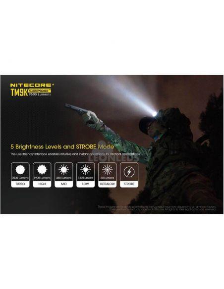Linterna de Mano Nitecore TM9K 9500Lm Turbo Ready | diferentes modos de iluminación | LeonLeds Iluminación