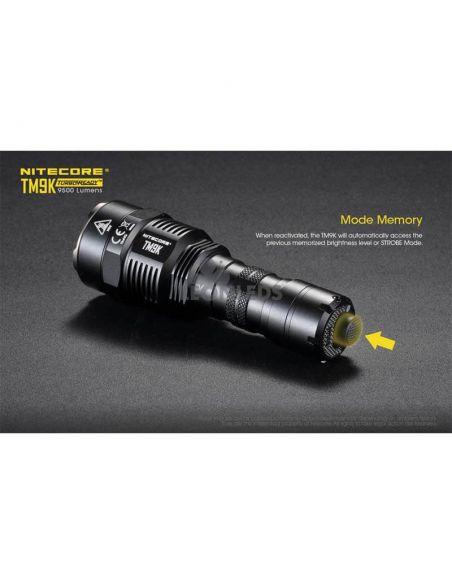 Linterna de Mano Nitecore TM9K 9500Lm Turbo Ready | con pulsador en la parte trasera | LeonLeds Iluminación