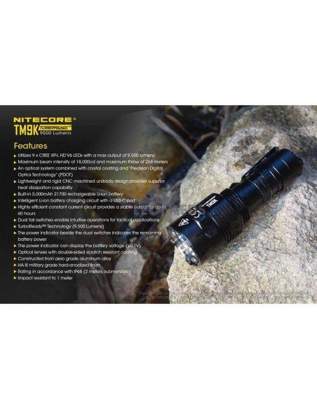 Linterna de Mano Nitecore TM9K 9500Lm Turbo Ready | para exterior | LeonLeds Iluminación