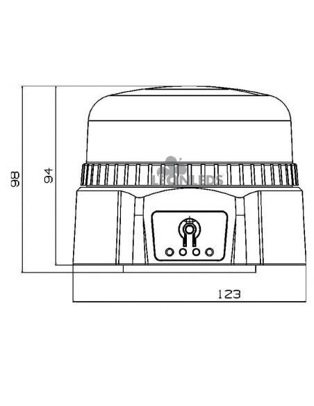 Dimensiones Rotativo LED de batería recargable magnético NR65 TA1 Agropar | LeonLeds