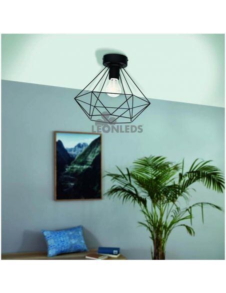 Plafón de techo vintage Tarbes 1XE277 | plafon de techo vintage de metal negro de Eglo Lighting | LeonLeds Iluminación