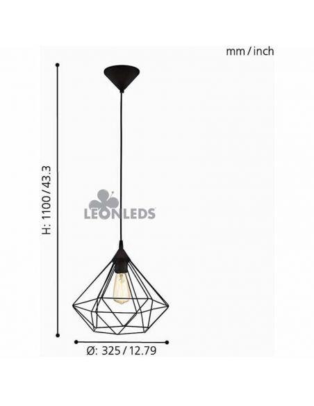 Lámpara de techo de metal negra Tarbes 1XE27 | lámpara colgante vintage metálica de Eglo Lighting | LeonLeds Iluminación