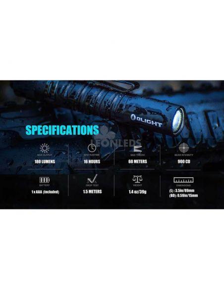 Linterna táctica LED I3T EOS 180Lm negra | especial fuerzas de la autoridad | LeónLeds Iluminación