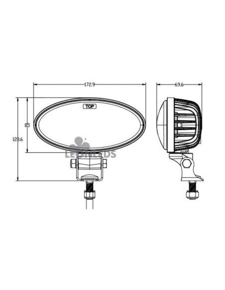 Dimensiones Faro LED ovalado potente 4.100Lm John Deere Series R y M Agropar | LeonLeds