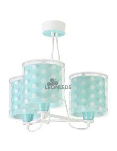 Lámpara colgante 3 luces infantil Turquesa Dots 41007H | LeonLeds Iluminación
