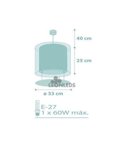 Dimensiones lámpara de techo infantil Turquesa Dots 41002H | LeónLeds Iluminación