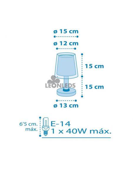 Dimensiones lámpara de mesa Azul Light Feeling Dalber 81191T| LeónLeds Iluminación