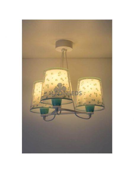 Lámpara colgante 3 luces infantil Turquesa Dream Flowers 81177H | LeonLeds Iluminación