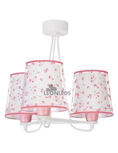 Lámpara colgante 3 luces infantil Rosa Dream Flowers 81177S | LeónLeds Iluminación