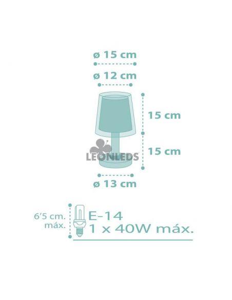 Dimensiones lámpara de mesa infantil Turquesa Dream Flowers Dalber 81171H | LeónLeds Iluminación