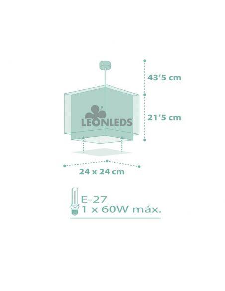 Lámpara de Techo Verde  cuadrada Koala 63262H| LeónLeds Iluminación