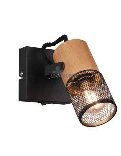 Aplique LED de madera vintage 1 foco Tosh de Trio Lighting| aplique metálico marrón y negro| LeonLeds Iluminación