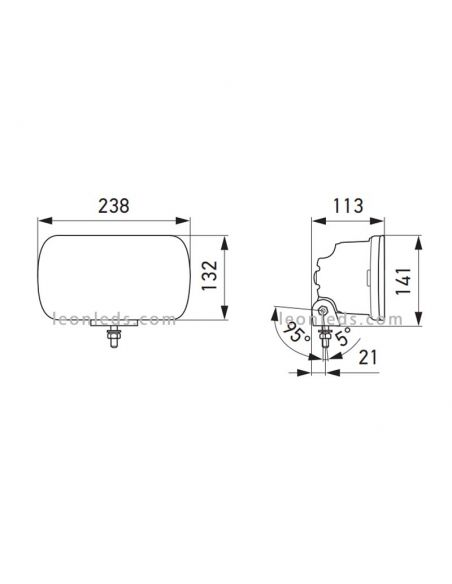 Dimensiones Faro delantero LED Jumbo rectangular homologado 1FE 016 773-001 Hella | LeonLeds Iluminación