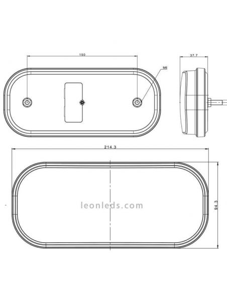 Dimensiones Piloto LED trasero FT-230 Led con conector Bayonet 5 Pin Fristom | LeonLeds Iluminación