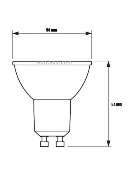 Dimensiones Bombilla LED GU10 Regulable 6,2W - 80W 120º Master Ledspot Philips | LeonLeds