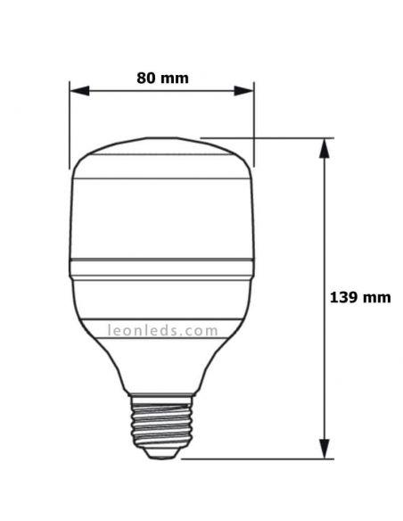 Medidas Bombilla LED E27 20W - 40W TrueForce Core HB Philips 78103300 | LeonLeds.com