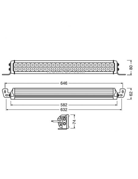 Dimensiones Barra LED Combo Homologada LightBar VX500-CB 72W 58,2Cm LEDDL118-CB Osram | LeonLeds Iluminación