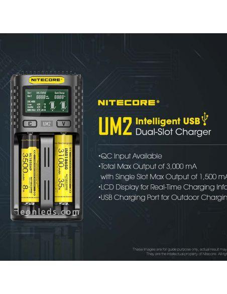 Cargador universal con pantalla LCD UM2 con 2 Bahías Nitecore UM2 | LeonLeds