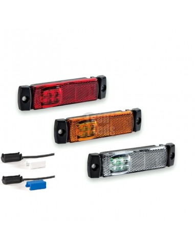 Piloto Lateral Galibo LED Ambar, Rojo y Blanco para superficie conector QS075 Remolque Camión Fristom FT018 Con conector | LeonL