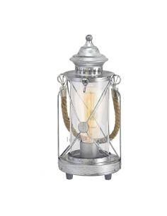 Farolillo de mesa LED vintage Bradford 1xE27   Lámpara vintage plateada de sobremesa de Eglo Iluminación   LeonLeds Iluminación