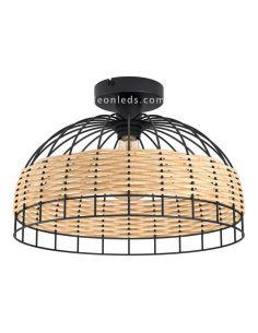 Plafón de techo LED rattan Anwick 38Cm 1XE27 | Lámpara vintage de techo de Eglo Iluminación | LeonLeds Iluminación