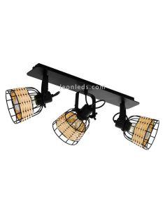 Regleta LED rattan y acero Anwick 1 3XE27 | Regleta vintage de techo de Eglo Iluminación | LeonLeds Iluminación