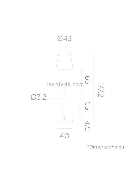 Lámpara de pie LED solar para exterior 180Cm Lola Slim   Lámpara de PVC bateria   LeonLeds Iluminación