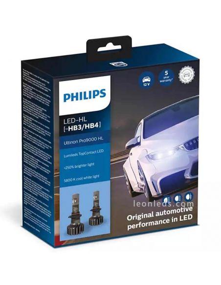 Pack 2 Bombillas LED HB3-HB4 para carretera Ultinon Pro9000 12V 24V 11005U90CWX2 Pack 2 Unds Philips | LeonLeds