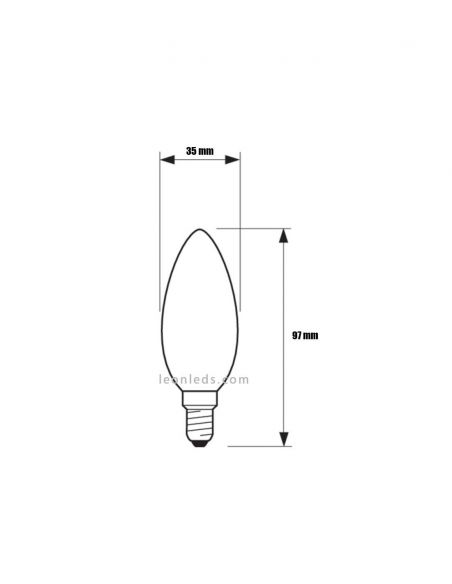 Medidas Bombilla LED E14 6.5W - 60W B35 2700K Vela Classic Philips 64922700 | LeonLeds.com