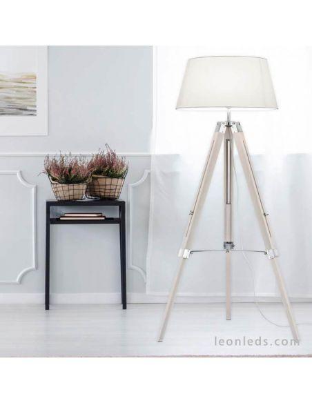 Ambiente Lámpara de pie Tripode Blanca y Madera Tripod R40991001 Trio Lighitng | LeonLeds Iluminación