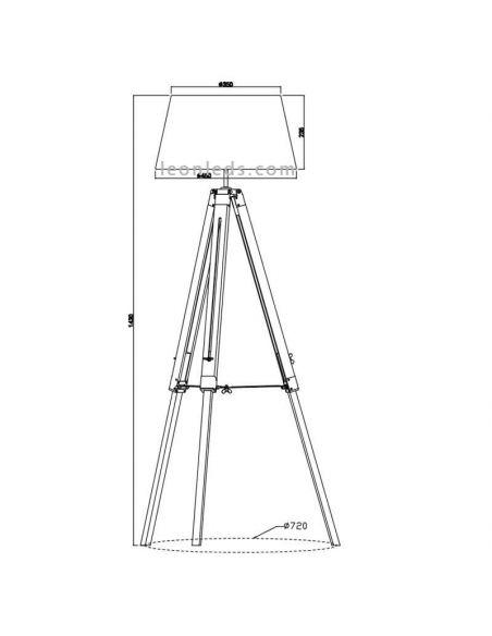 Dimensiones Lámpara de pie Tripode Blanca y Madera Tripod R40991001 Trio Lighitng | LeonLeds Iluminación